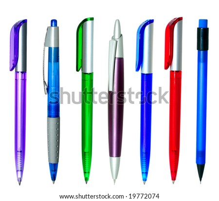 Multi-coloured ball pens - stock photo