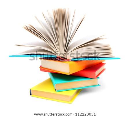 Multi-coloured books and the open book. - stock photo