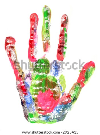 multi-coloured handprint - stock photo