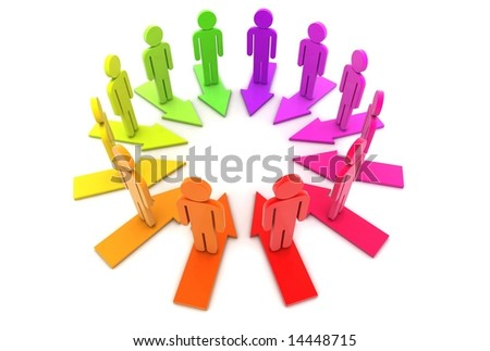 Multi-coloured people stand on arrows. - stock photo