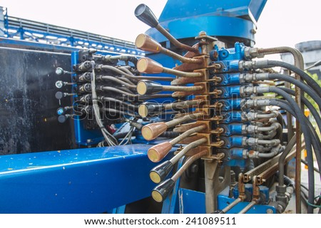 Multi controler by Hydrolic handle control - stock photo