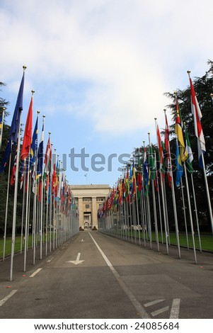 multi country flag in front of united nation, multiple culture - stock photo