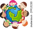 Multi culture kids hands in hands holding a globe - stock vector