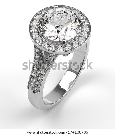 Multi diamonds ring on white - stock photo