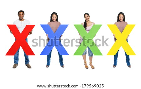 Multi-ethnic and Diverse People Holding The Letter X - stock photo