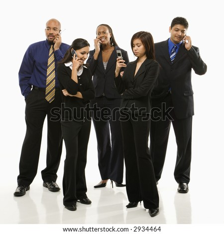 Multi-ethnic business group of men and women standing talking on cell phones. - stock photo