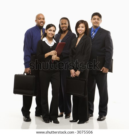 Multi-ethnic business group of men and women standing with briefcases looking at viewer. - stock photo