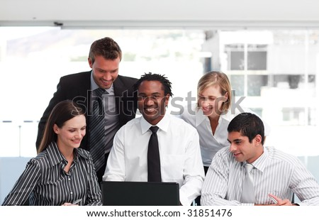 Multi-ethnic business team working in an office