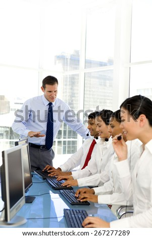 Multi ethnic Call Center team