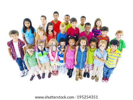Multi-ethnic Chidrend in casual wear - stock photo