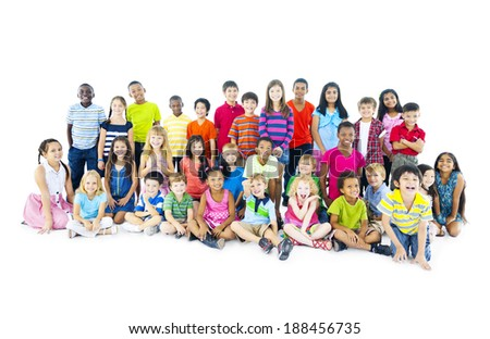 Multi-ethnic Children Sitting Together - stock photo