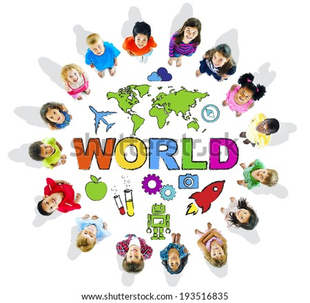 Multi-Ethnic Children with Text World and Related Symbols - stock photo