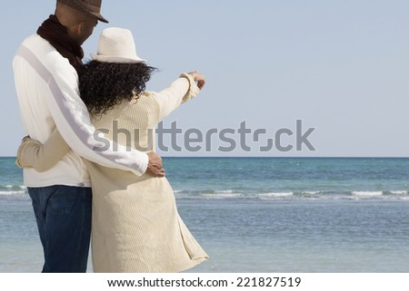Multi-ethnic couple hugging and pointing at beach - stock photo