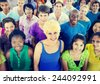 Multi-Ethnic Crowd Teenager Happiness Team Concept - stock photo