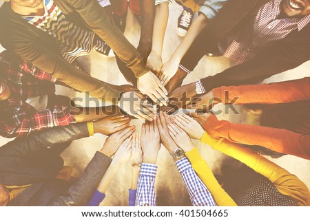 Multi-Ethnic Diverse Group of People In Circle Concept - stock photo