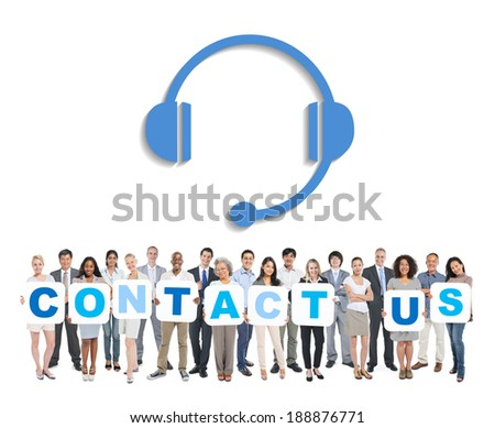 Multi-Ethnic Group Of Business And Casual People Holding The Words Contact Us - stock photo