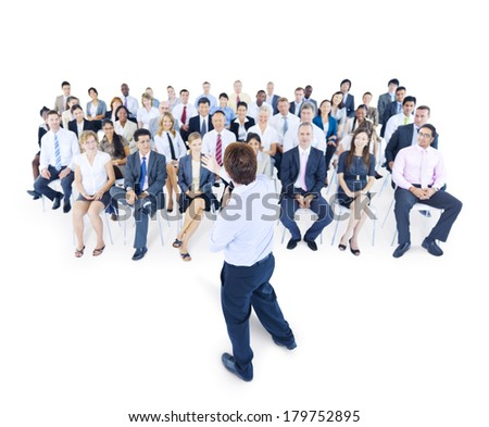 Multi-Ethnic Group of Business People in Seminar - stock photo