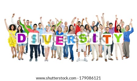 Multi-ethnic Group of Celebrating World People Holding Boards with Diversity - stock photo