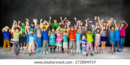 Multi-Ethnic Group of Children Holding Empty Billboard - stock photo