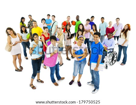 Multi-ethnic Group of Diverse People and Students - stock photo