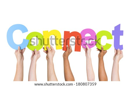 Multi-Ethnic Group Of Diverse People Holding Letters That Form Connect  - stock photo