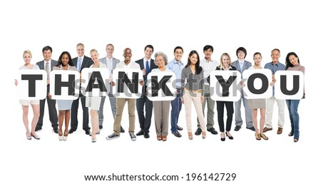 Multi-Ethnic Group Of Diverse People Holding Letters That Form Thank You - stock photo