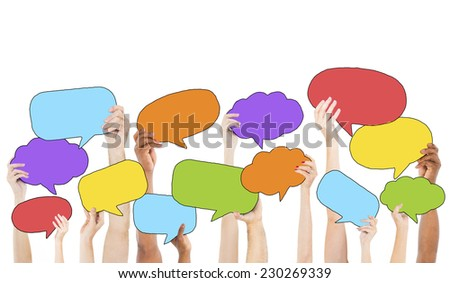 Multi-Ethnic Group of Hands Holding Speech Bubbles - stock photo