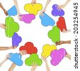 Multi-Ethnic Group of People and Colorful Speech Bubbles - stock photo
