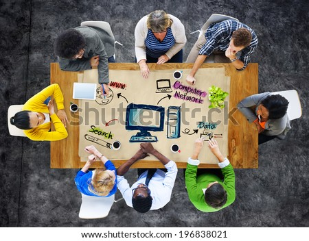 Multi-Ethnic Group of People and Computer Network Concepts - stock photo