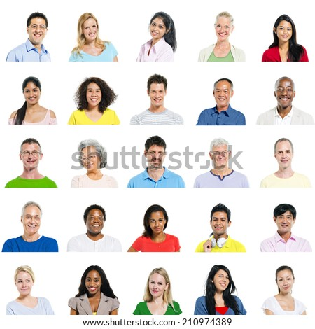 Multi-Ethnic Group Of People Expressing Positivity - stock photo