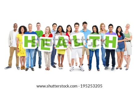 Multi-Ethnic Group Of People Holding Alphabet To Form Health - stock photo