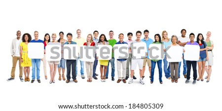 Multi-Ethnic Group Of People Holding 10 Blank Placards - stock photo