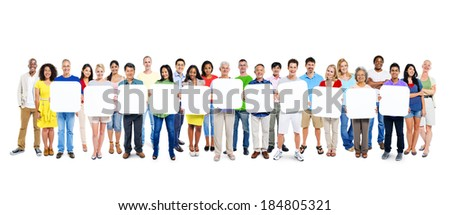Multi-Ethnic Group Of People Holding 11 Blank Placards - stock photo