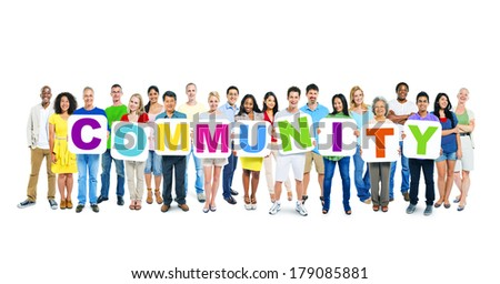 Multi-ethnic Group of People Holding Boards with Community - stock photo