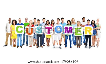Multi-ethnic Group of People Holding Boards with Customer - stock photo