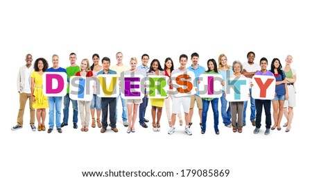 Multi-ethnic Group of People Holding Boards with Diversity - stock photo