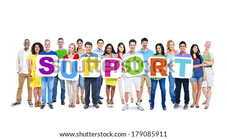 Multi-ethnic Group of People Holding Boards with Support - stock photo
