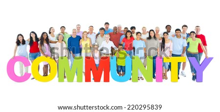 "Multi-ethnic group of people holding ""COMMUNITY"" letters - stock photo"