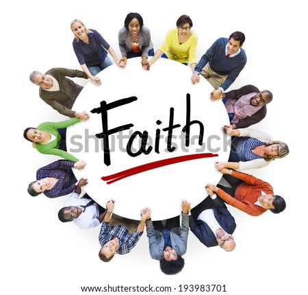 Multi-Ethnic Group of People Holding Hands and Faith Concept - stock photo