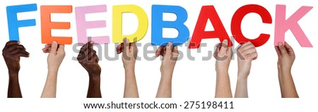 Multi ethnic group of people holding the word feedback isolated - stock photo