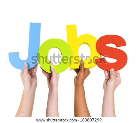 Multi-Ethnic Group Of People Holding The Word Jobs - stock photo