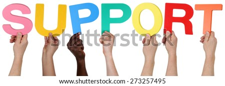 Multi ethnic group of people holding the word support isolated - stock photo