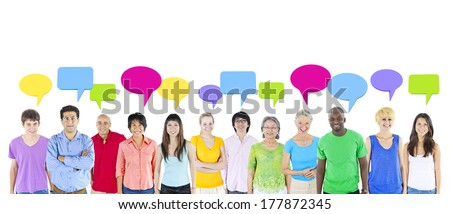 Multi-Ethnic Group of People Isolated on White Background with Speech Bubbles - stock photo