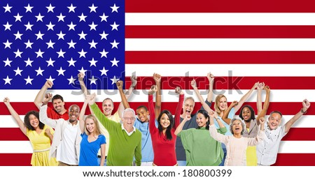 Multi-Ethnic Group Of People Raising Their Arms With American Flag - stock photo