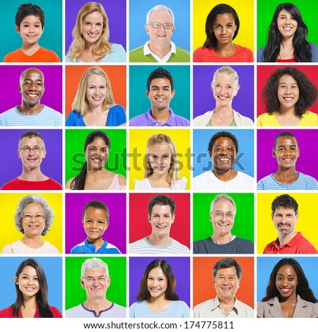 Multi-ethnic group with colorful background - stock photo