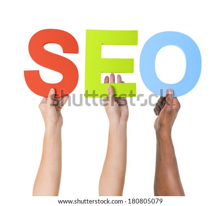 Multi-Ethnic Hands Holding Colorful Letters To Form SEO - stock photo