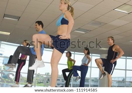 Multi ethnic people exercising in aerobics class - stock photo