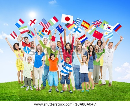 Multi-Ethnic People Holding National Flags of the World - stock photo