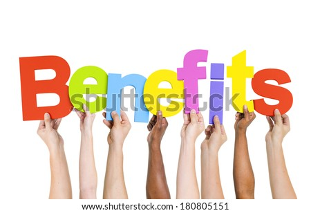 Multi Ethnic People Holding The Word Benefits - stock photo