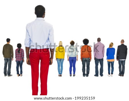 Multi-Ethnic People Turned Back and a Man Left Behind - stock photo